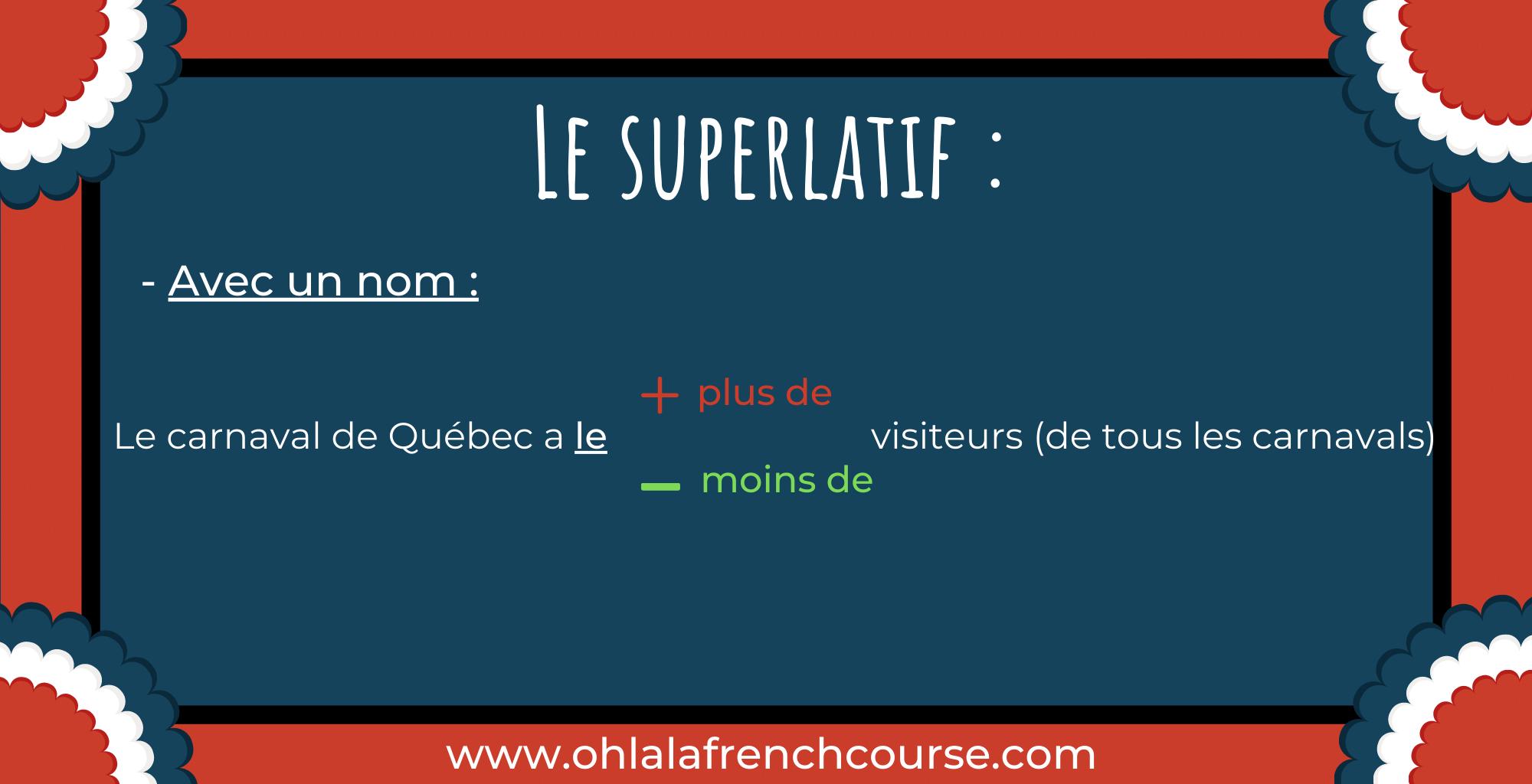 Le superlatif - Lesuperlatif avec un nom :