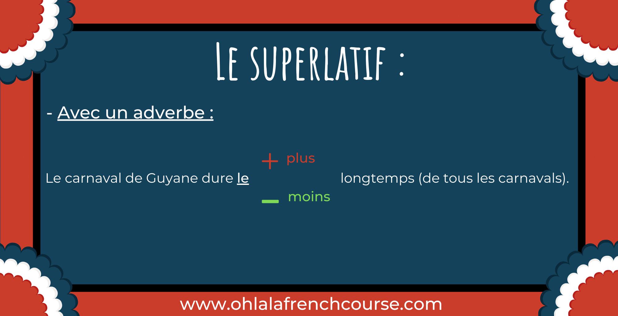 Le superlatif - Lesuperlatif avec un adverbe