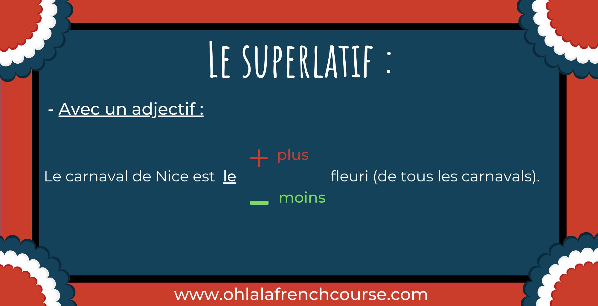 Le superlatif - Lesuperlatif avec un adjectif