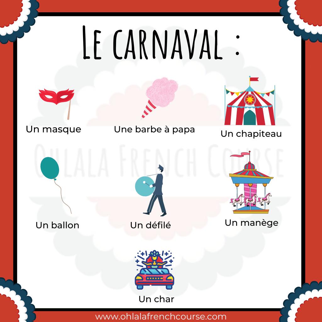 Vocabulaire le carnaval en français