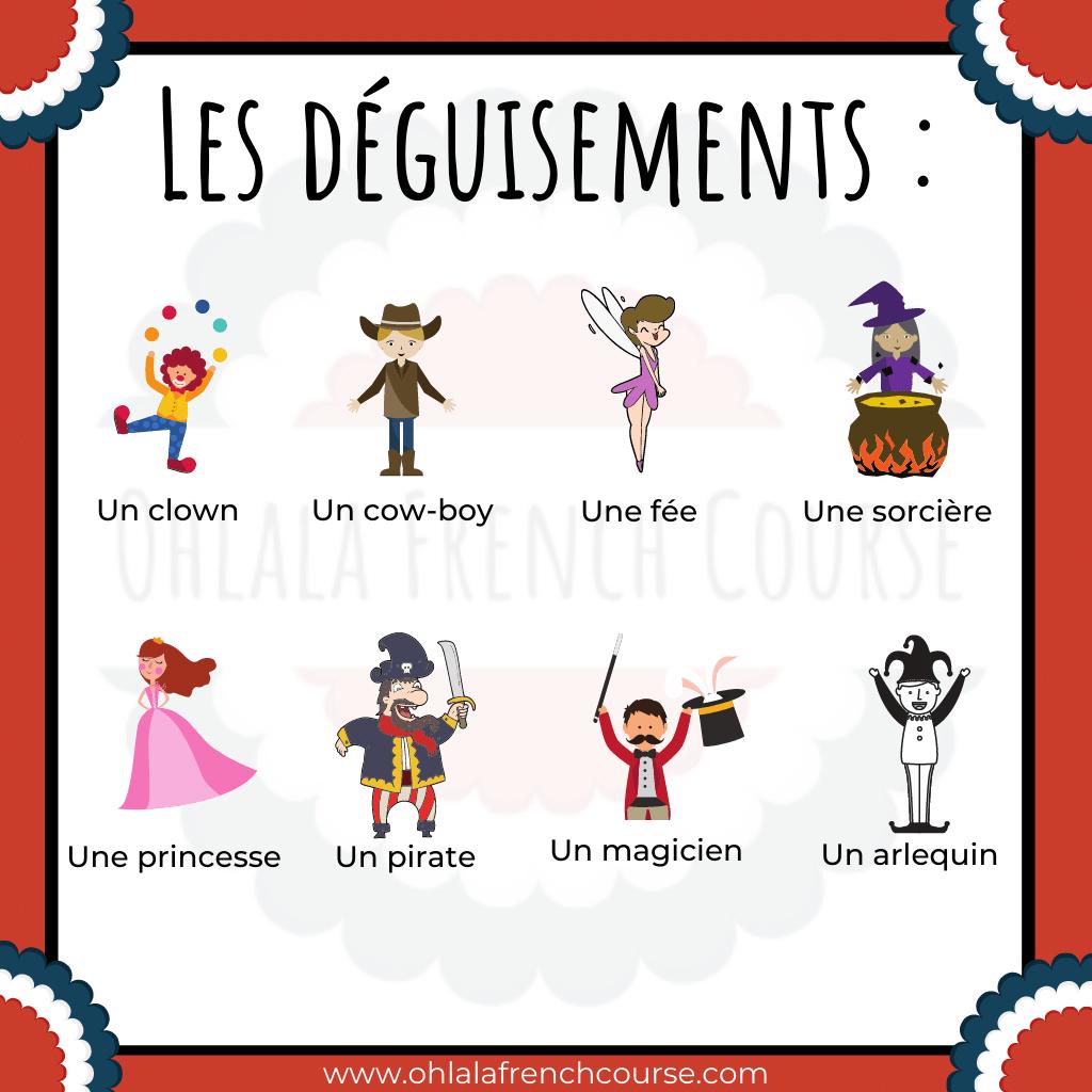 Les déguisements - Vocabulaire le carnaval en français