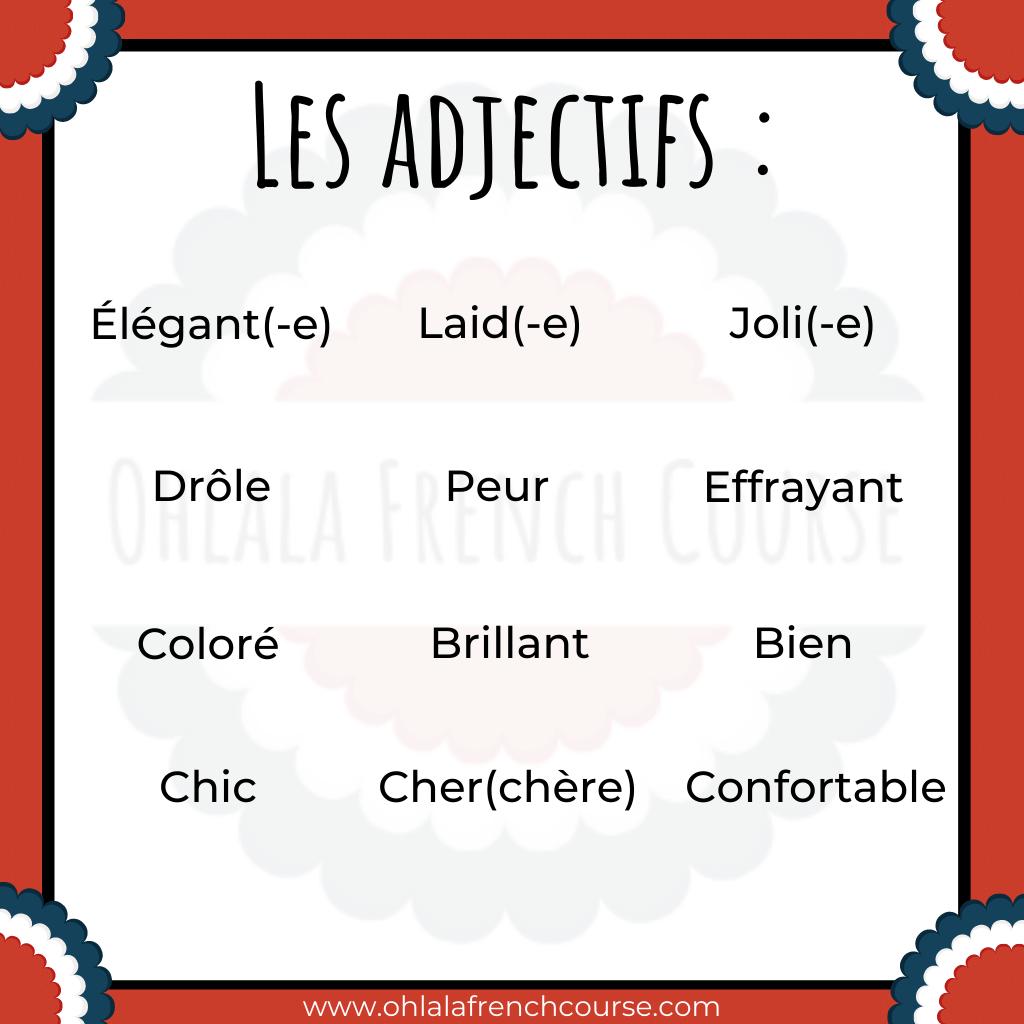 Les adjectifs - Vocabulaire le carnaval en français