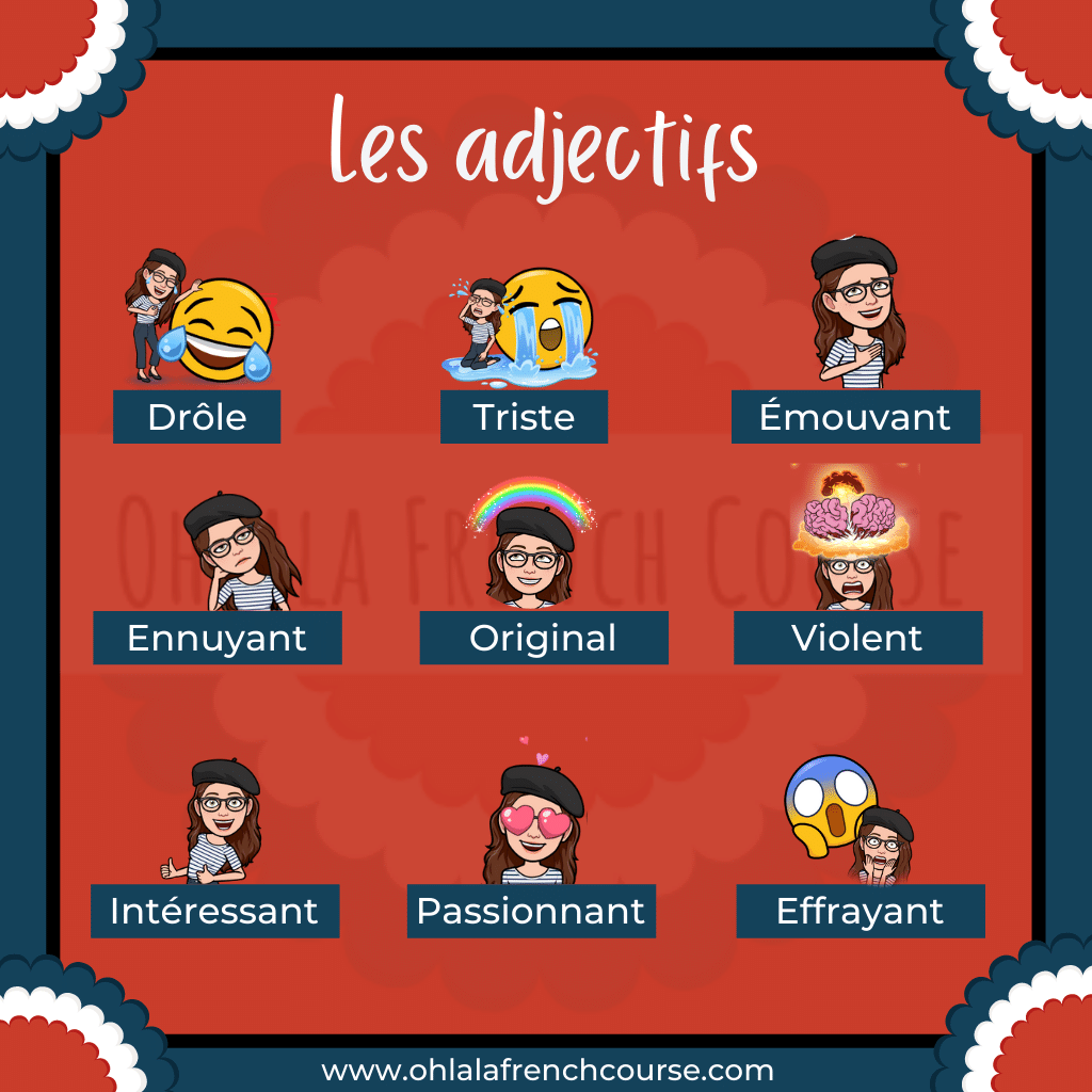French Vocabulary - TV series adjectives