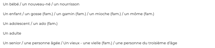 the vocabulary of the different generations in French
