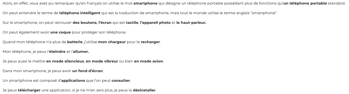 Talk about smartphones in French