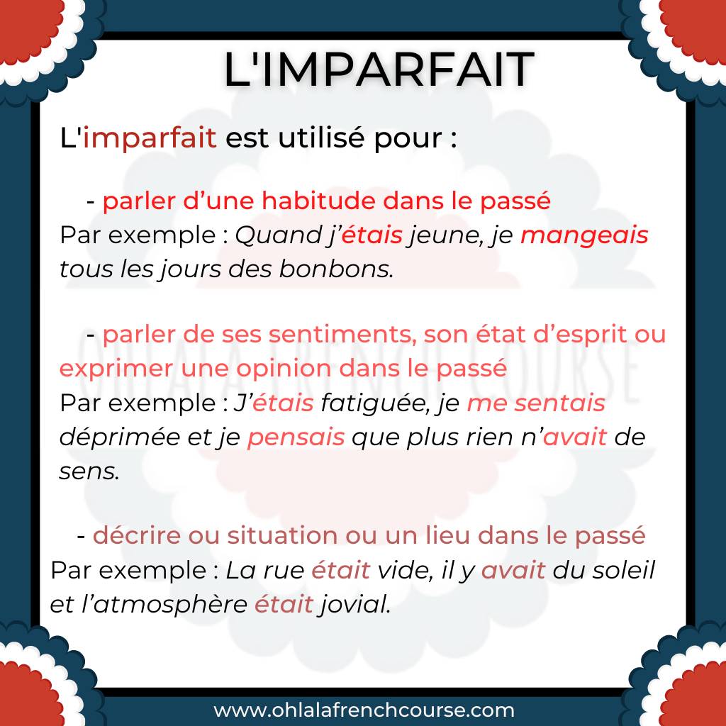 How to use the imparfait tense ?