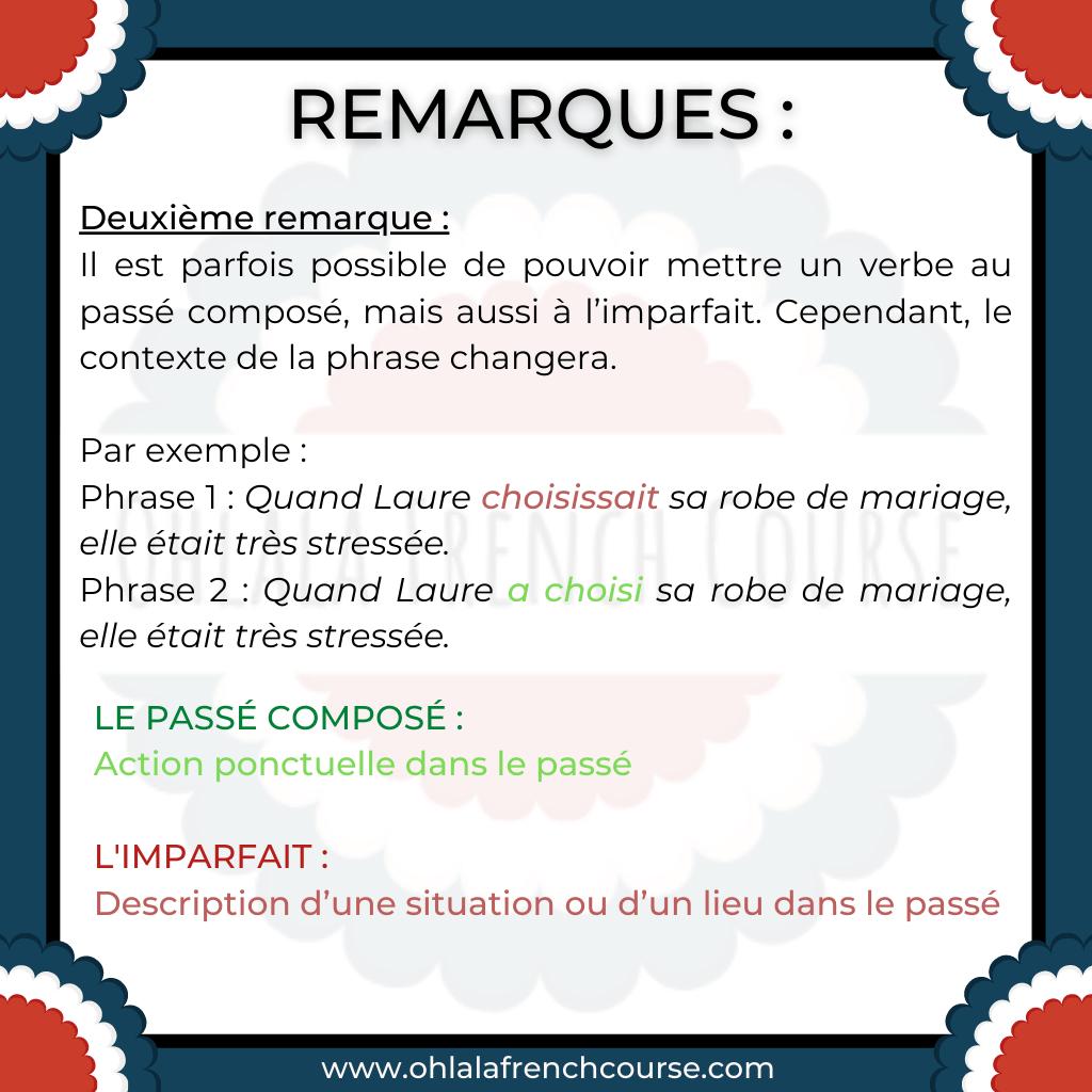 remarks on the passé composé and imparfait tenses