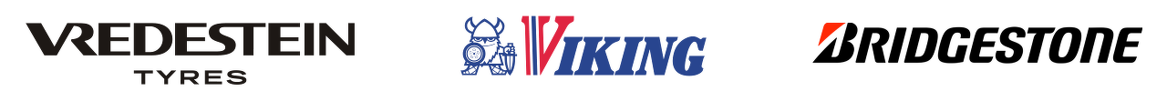 Logo's van de bandenmerken: Viking, Vredestein & Bridgestone