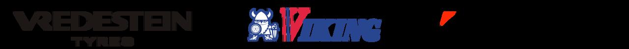 Logo's van de bandenmerken: Vredestein, Viking & Bridgestone