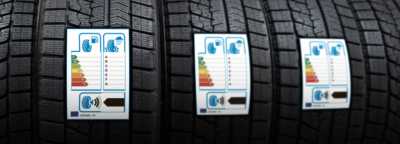Banden met daarop een banden label waar A groen is en de beste keuze. En G rood is en de slechte keuze.