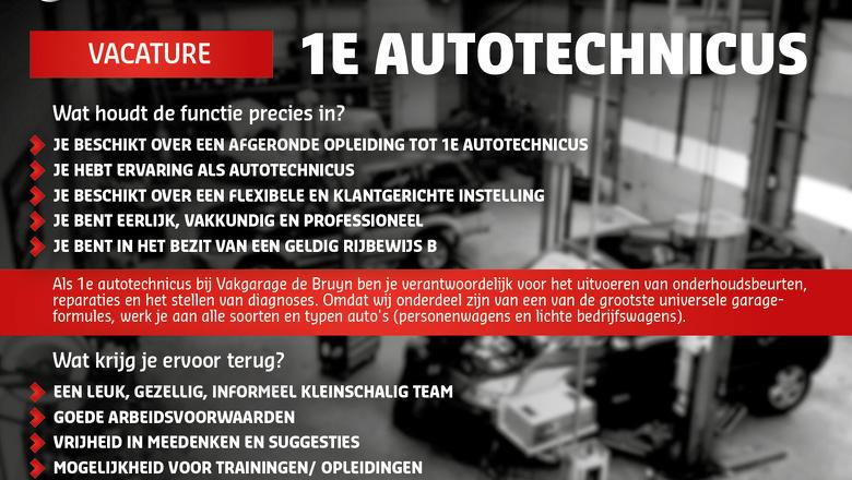 Wij zoeken een 1e Autotechnicus!