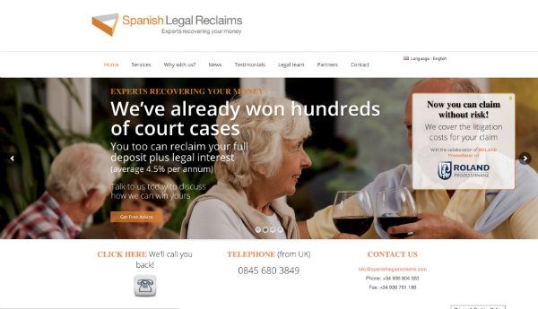The spanish legal reclaims website.