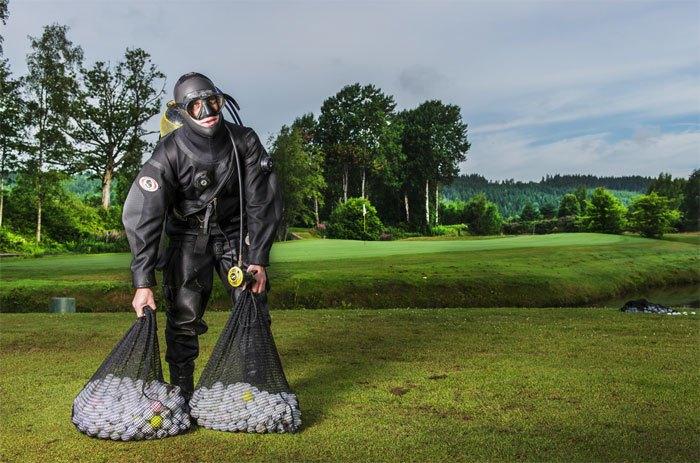 Dykning golfbollar