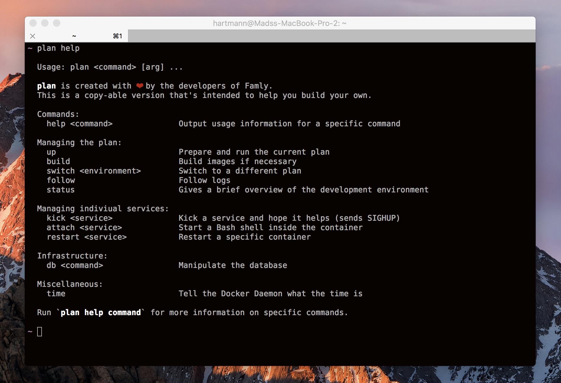 Screenshot of famly/plan help command