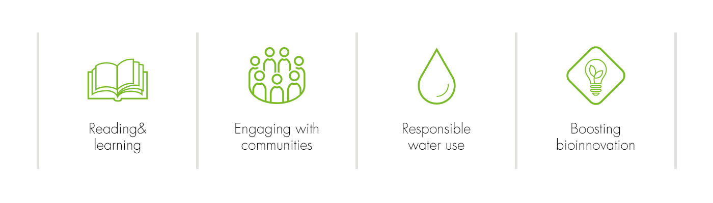 reading & learning, engaging with communities, responsible water use, boosting bioinnovations