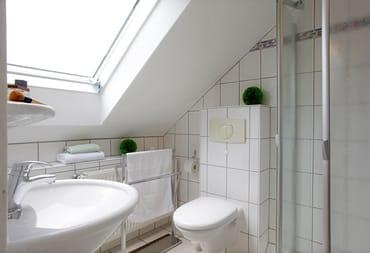 Das Appartement verfügt über ein Bad mit Dusche, WC und einem Haarfön.