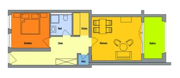 Gesamte Wohnung mit historischer Deckenhöhe,  Schlafzimmer zur Waldseite