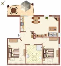 -Grundriss des Appartements - Ihnen steht ein kostenfreier Parkplatz, nur ca. 50 Meter von der Villa Monico entfernt, während Ihres Urlaubes zur Verfügung.