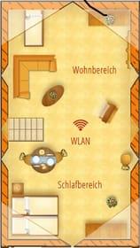 Grundriss Dachgeschoss (Wohn- und Schlafbereich für 3 Personen mit Einzel- und Doppelbett))