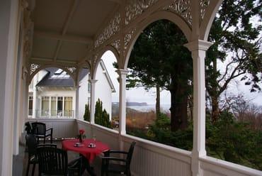 der gemütliche riesige Balkon mit dem                 Ostsee - Panoramablick