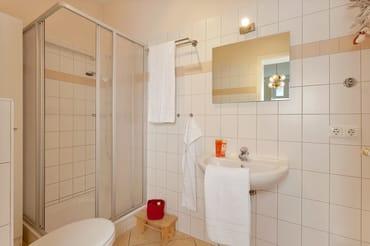 Das Badezimmer ist mit Dusche und WC ausgestattet.