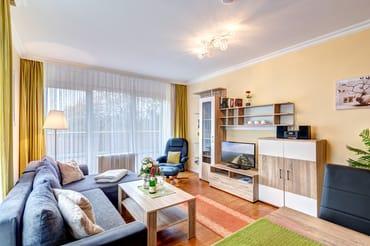 Wohnzimmer mit Schlafcouch, Essplatz, Flat-TV, Stereoanlage und Zugang auf die Dachterrasse
