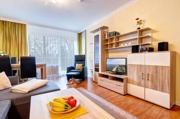 Wohnzimmer mit Schlafcouch, Flat-TV und Zugang auf die Dachterrasse
