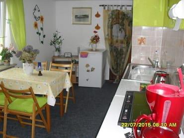 Küche mit Induktionsherd-Kaffeemaschine-Toaster-Wasserkocher