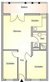 Grundriss für 3-Zimmer FeWo 3.17 im Haus Meeresblick