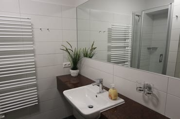 großer Spiegel im funktionalen Bad mit Dusche und WC nach Modernisierung 2017
