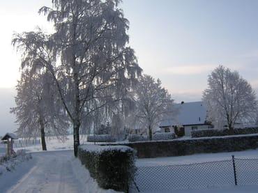 Einfahrt zum Grundstück im Winter
