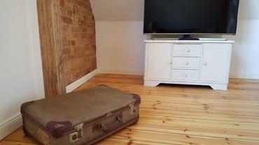 Wohnzimmer mit Bücher- und Spielekoffer sowie großem TV