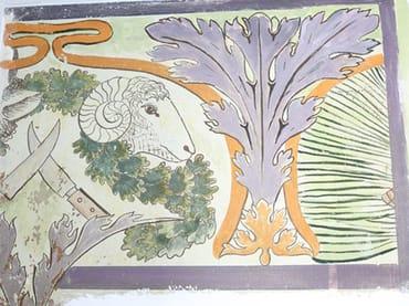 Wandmalerei im oberen Küchenbereich