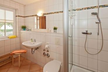 Das Badezimmer ist mit Dusche, WC und Haarfön ausgestattet.