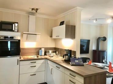 Küche mit Geschirrspüler, Kühlschrank, Induktionsherd mit  Backofen, Mikrowelle