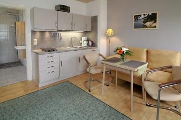 Wohn-Schlafraum mit Küchenzeile und Essbereich
