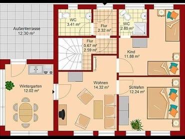 Raumaufteilung der Ferienwohnung (m2 Bad nicht korrekt)
