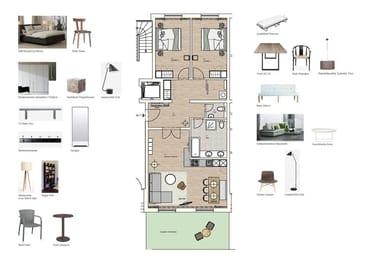 Grundriss und Möblierung Wohnung 11