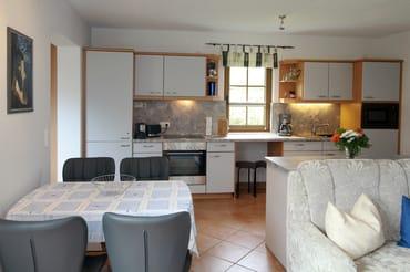 Blick in die komplett ausgestattete Küche