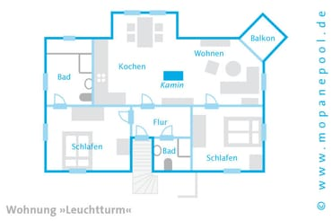 - Grundriss - Am Haus stehen Ihnen zwei Stellplätze zur Verfügung. Ein kostenfreier WLAN Anschluss komplettiert den Urlaubskomfort.