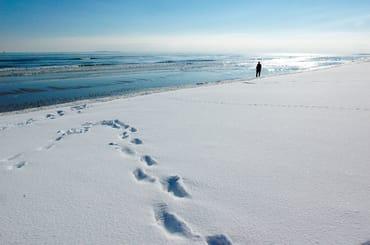 Der Strand von Thiessow im Winter