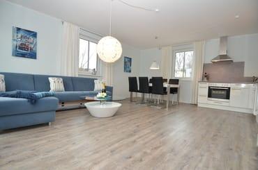 Wohnraum mit Küche und Schlafsofa (Lattenrost, Madratze, zum ausklappen