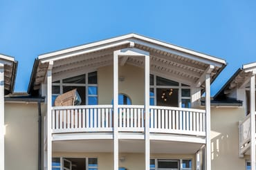 12 m² großer Balkon - unser 2. Wohnzimmer - sonnige, geschützte Lage das ganze Jahr!