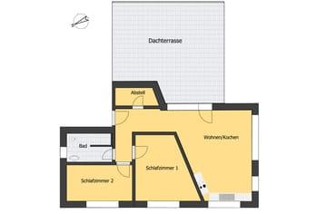 Grundriss - Ferienwohnung T4 - (Dachgeschoss)