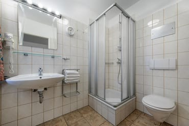 Das Bad hat Dusche, WC und Fenster.