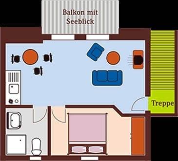 Grundriss App.4 (Küche und TV-Gerät inzwischen erneuert)