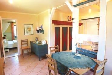 Wohnküche mit offenem Fachwerk