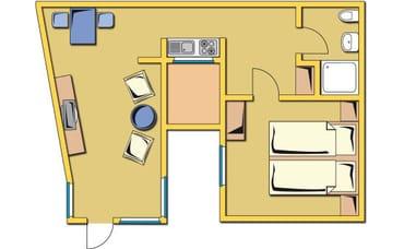Grundriss Ferienwohnung Deck 3