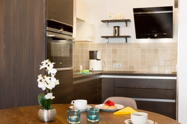 Küche mit Induktionsherd, Backofen, Spülmaschine und Kühlschrank