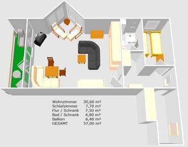 Grundriss mit Zimmergrößen